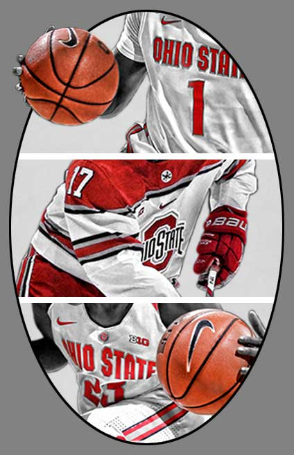 Men's Basketball, Women's Basketball, Men's Ice Hockey outlines