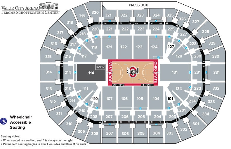 Basketball Seating Map -- for more info call us 614-688-3939