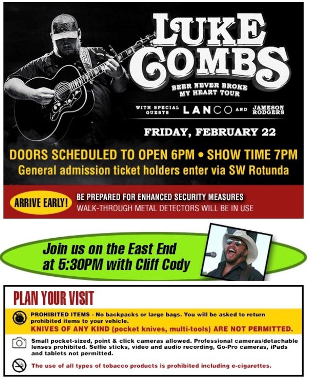 Luke Combs Doors open at 6PM Pre party on the east end with Cliff Cody at 530pm.jpg